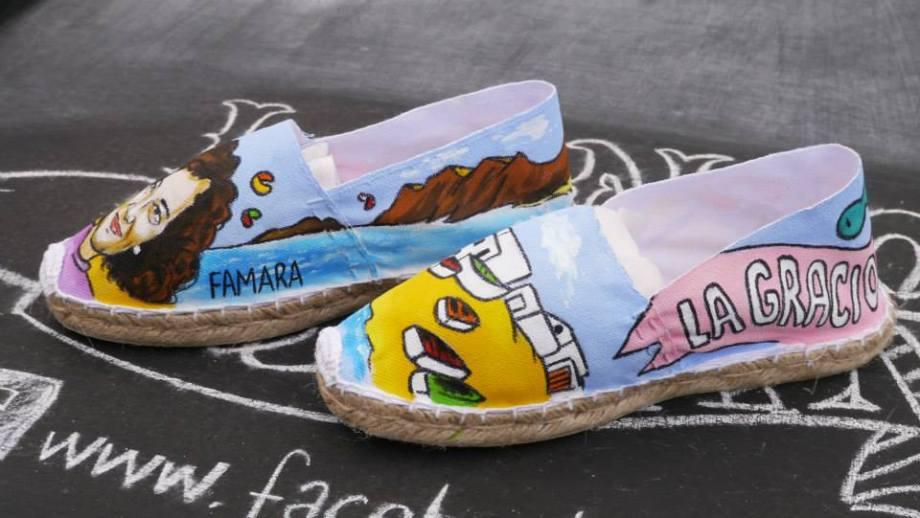 Alpargatas de las Nanis de Nani pintadas a mano de Lanzarote